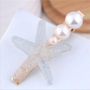 Starfish Pearl Fashion Women Hair Barrette - White