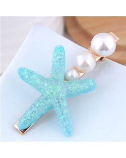 Starfish Pearl Fashion Women Hair Barrette - Blue