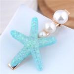 Starfish Pearl Fashion Women Hair Barrette - Blue
