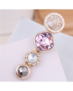 Korean Fashion Gem Embellished Graceful Women Hair Barrette - Pink