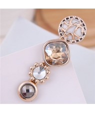 Korean Fashion Gem Embellished Graceful Women Hair Barrette - Champagne
