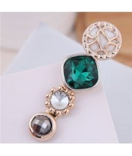 Korean Fashion Gem Embellished Graceful Women Hair Barrette - Green