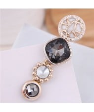 Korean Fashion Gem Embellished Graceful Women Hair Barrette - Black