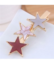 Stars Fashion Korean Style Women Hair Barrette - Red