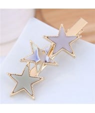 Stars Fashion Korean Style Women Hair Barrette - Beige