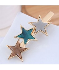 Stars Fashion Korean Style Women Hair Barrette - Brown and Green