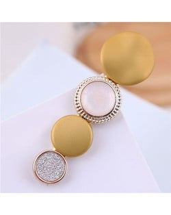 Buttons Fashion Korean Style Women Hair Barrette - Yellow