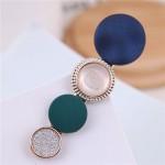Buttons Fashion Korean Style Women Hair Barrette - Blue