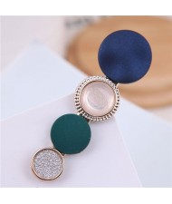 Buttons Fashion Korean Style Women Hair Barrette - Blue