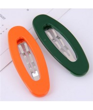 Korean Fashion Candy Color Women Hair Clips Combo - Orange and Green