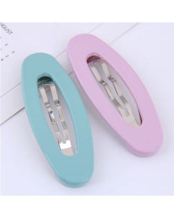 Korean Fashion Candy Color Women Hair Clips Combo - Teal and Purple