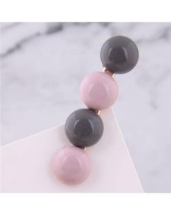 Korean Fashion Candy Button Design Women Hair Barrette - Pink