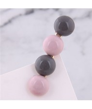 Korean Fashion Candy Button Design Women Hair Barrette - Pink