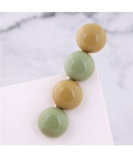 Korean Fashion Candy Button Design Women Hair Barrette - Green