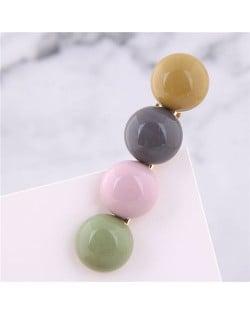 Korean Fashion Candy Button Design Women Hair Barrette - Multicolor