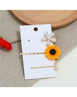 Sunflower and Dragonfly High Fashion Women Hair Clips Combo Set
