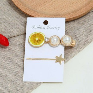 Lemon Design High Fashion Women Hair Clip and Barrette Combo Set