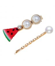 Watermelon High Fashion Women Hair Clip and Barrette Combo Set