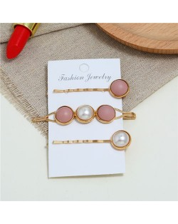 Pearl and Button Fashion 3pcs Women Hair Clip and Barrette Combo Set - Pink
