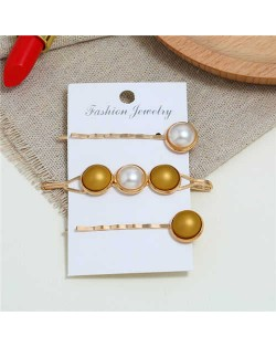 Pearl and Button Fashion 3pcs Women Hair Clip and Barrette Combo Set - Golden Yellow