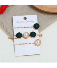 Pearl and Button Fashion 3pcs Women Hair Clip and Barrette Combo Set - Green