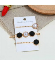 Pearl and Button Fashion 3pcs Women Hair Clip and Barrette Combo Set - Black