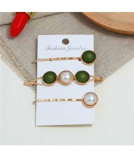 Pearl and Button Fashion 3pcs Women Hair Clip and Barrette Combo Set - Olive