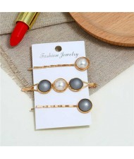 Pearl and Button Fashion 3pcs Women Hair Clip and Barrette Combo Set - Gray