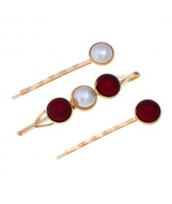 Pearl and Button Fashion 3pcs Women Hair Clip and Barrette Combo Set - Red