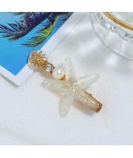 Starfish Beach Fashion Women Hair Barrette - White
