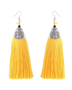 High Fashion Cotton Threads Tassel Design Women Costume Earrings - Yellow