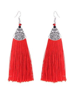 High Fashion Cotton Threads Tassel Design Women Costume Earrings - Red