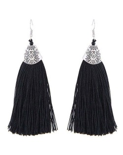 High Fashion Cotton Threads Tassel Design Women Costume Earrings - Black