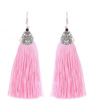High Fashion Cotton Threads Tassel Design Women Costume Earrings - Pink