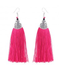 High Fashion Cotton Threads Tassel Design Women Costume Earrings - Rose