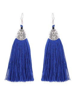 High Fashion Cotton Threads Tassel Design Women Costume Earrings - Blue