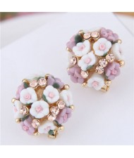 Flowers Ball Design Korean High Fashion Women Costume Earrings - Violet