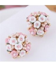 Flowers Ball Design Korean High Fashion Women Costume Earrings - Pink