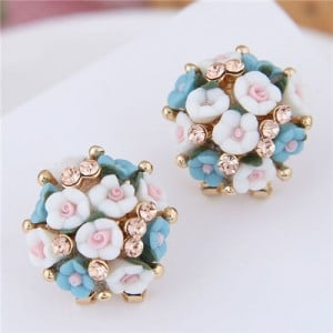 Flowers Ball Design Korean High Fashion Women Costume Earrings - Blue and White