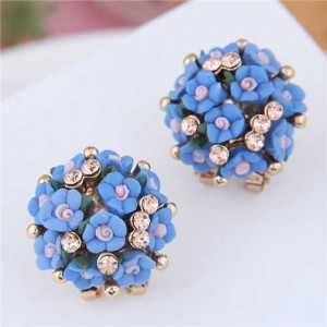 Flowers Ball Design Korean High Fashion Women Costume Earrings - Blue