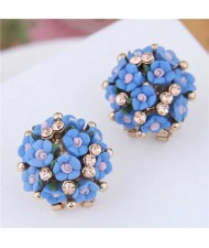 Flowers Ball Design Korean High Fashion Women Costume Earrings - Blue