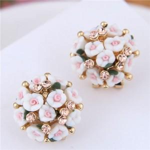 Flowers Ball Design Korean High Fashion Women Costume Earrings - White