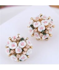 Flowers Ball Design Korean High Fashion Women Costume Earrings - White