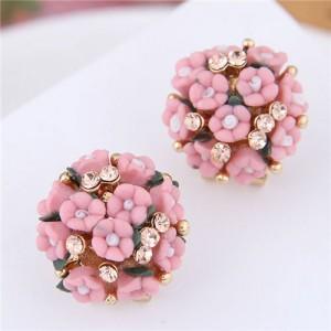 Flowers Ball Design Korean High Fashion Women Costume Earrings - Red