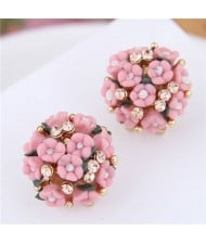 Flowers Ball Design Korean High Fashion Women Costume Earrings - Red