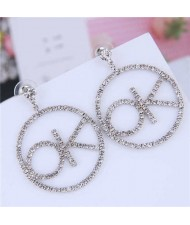 Rhinestone OK Hoop Shining Fashion Women Earrings