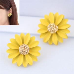 Elegant Yellow Flower High Fashion Women Statement Earrings