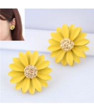 Elegant Yellow Flower High Fashion Women Statement Earrings
