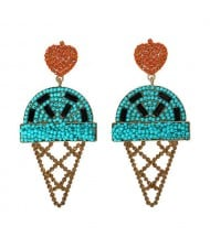 Mini Beads and Rhinestone Ice Cream Fashion Earrings - Blue
