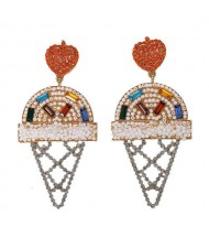 Mini Beads and Rhinestone Ice Cream Fashion Earrings - White